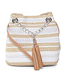 Metallic Straw Crossbody With Tassel