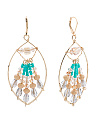 Multi Color Crystal Embellished Open Earrings In Gold Tone