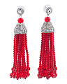 Crystal Embellished Beaded Tassel Earrings