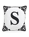 Made In India 20x20 Velvet Applique Monogram Pillow