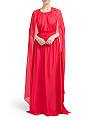 Silk Henrietta Caped Gown