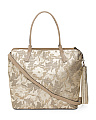 Made In Italy Large Metallic Flower Leather Tote