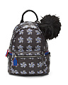 Printed Backpack With Pom