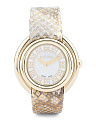 Women's Swiss Made Ivory Snakeskin Leather Band Watch