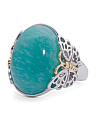 Made In Thailand 14k Gold And Sterling Silver Amazonite Oval Butterfly Ring
