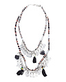 Made In India Black And White Fabric Coin Necklace