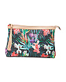 Made In Italy Floral Leather Beauty Clutch