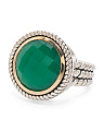 14k Gold And Sterling Silver Green Onyx Rope Shank Ring