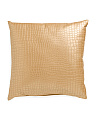 22x22 Metallic Faux Leather Pillow