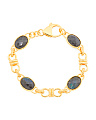 Made In Italy 18k Gold Plated Sterling Silver Labradorite Link Bracelet
