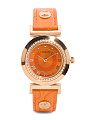 Women's Swiss Made Vanity Leather Strap Watch