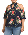 Plus Juniors Floral Cold Shoulder Top