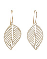 Made In Italy 14k Gold Cut Out Leaf Earrings