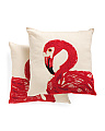 Set Of 2 Embroidered Flamingo Pillows