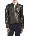 Lamb Leather Zip Front Jacket