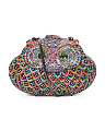Multi Rainbow Rhinstone Owl Clutch