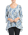 Paisley Print Bell Sleeve Tunic