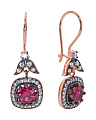 Made In Turkey Rose Toned Sterling Silver Cubic Zirconia Square Earrings