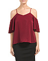 Juniors Cold Shoulder Satin Top