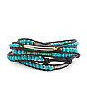 Made In Thailand Turquoise Leather Wrap Bracelet