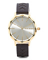 Women's Faceted Bezel Laser Cut Suede Strap Watch