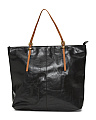 Contrast Handle Leather Tote