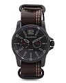 Men's Paradise Pilot Multifunction Leather Nato Strap Watch