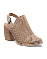 Perforated Leather Slingback Booties