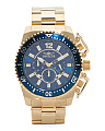 Men's Pro Diver Chronograph Blue Bezel Gold Bracelet Watch