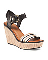 Carla One Band Leather Wedges