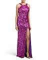 All Over Sequin Halter Gown