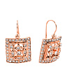 Made In Italy Rose Plate Cubic Zirconia Vintage Style Square Earrings
