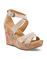Printed Cork Wedges With Leather Straps