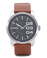 Men's Double Down Leather Strap Watch