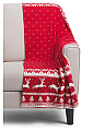 Made In India Reindeer Red Throw