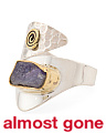 Made In India Sterling Silver And Brass Rough Cut Gemstone Ring