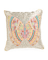Made In India 14x14  Beaded Butterfly Pillow