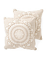 Made In India 18x18 2pk Embroidered Medallion Pillows