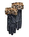 Faux Fur Cuff Glace Leather Gloves