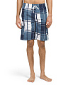 Block Plaid Microfiber Swim Shorts