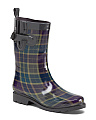 Plaid Mid Calf Rain Boots