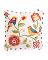 Made In India 18x18 Embroidered Floral Pillow With Pom Poms