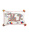 Made In India 16x24 Embroidered Elephant Pillow
