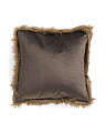 22x22 Faux Fur Trim Velvet Pillow