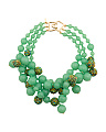 Made In USA Jade Pave Bead Cluster Necklace