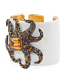 Made In USA Crystal Enamel Octopus Cuff Bracelet