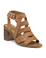 Block Heel Open Toe Leather Sandals