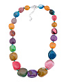 Sterling Silver Multi Color Quartz Graduated Gumball Necklace