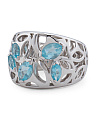 Made In Thailand Sterling Silver Blue Quartz Ricamo Ring