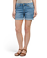 High Waist Rolled Denim Shorts